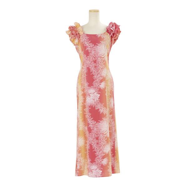 ハワイアン ドレス・ロングドレス/オレンジ