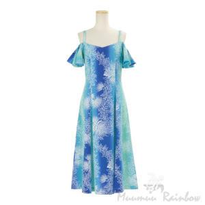 ハワイアン ドレス・フレア袖ドレス/グリーン