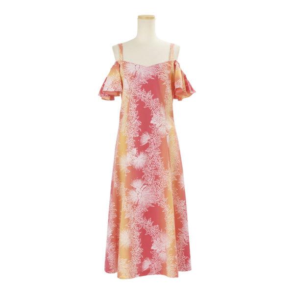 ハワイアン ドレス・フレア袖ドレス/オレンジ