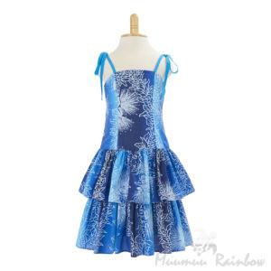 KIDS10B子供服ハワイアン ドレス・ショートドレス/ブルー