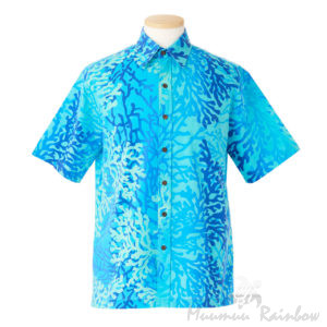 MRA6Bムームーレインボー・オリジナルアロハシャツ/ライトブルー