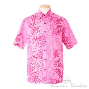 サンゴ柄アロハシャツピンク