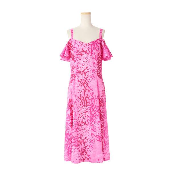 ハワイアン ドレス・フレア袖ドレス/ピンク