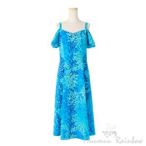 ハワイアン ドレス・フレア袖ドレス/ライトブルー